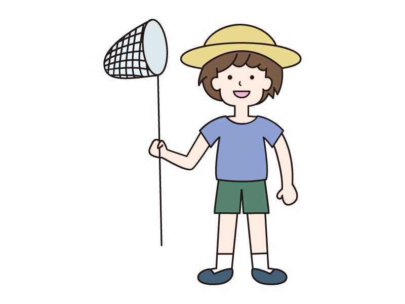 虫取り網を持った少年のイラスト
