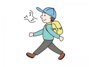 リュックを背負い歩いている人物のイラスト