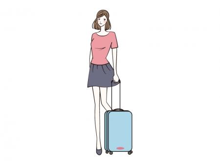 スーツケースと女性のイラスト