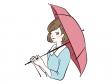 傘をさす女性のイラスト