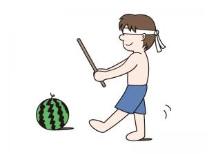 スイカ割りをする男の子のイラスト