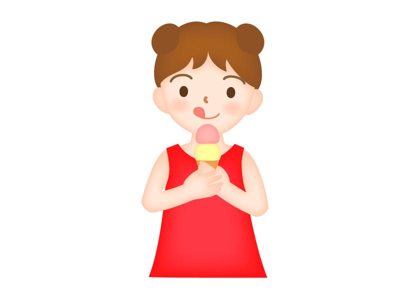 アイスクリームを食べる女の子のイラスト