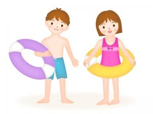 うきわを持った男の子と女の子のイラスト