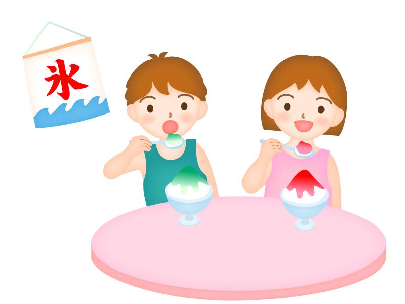 かき氷を食べる男の子と女の子のイラスト