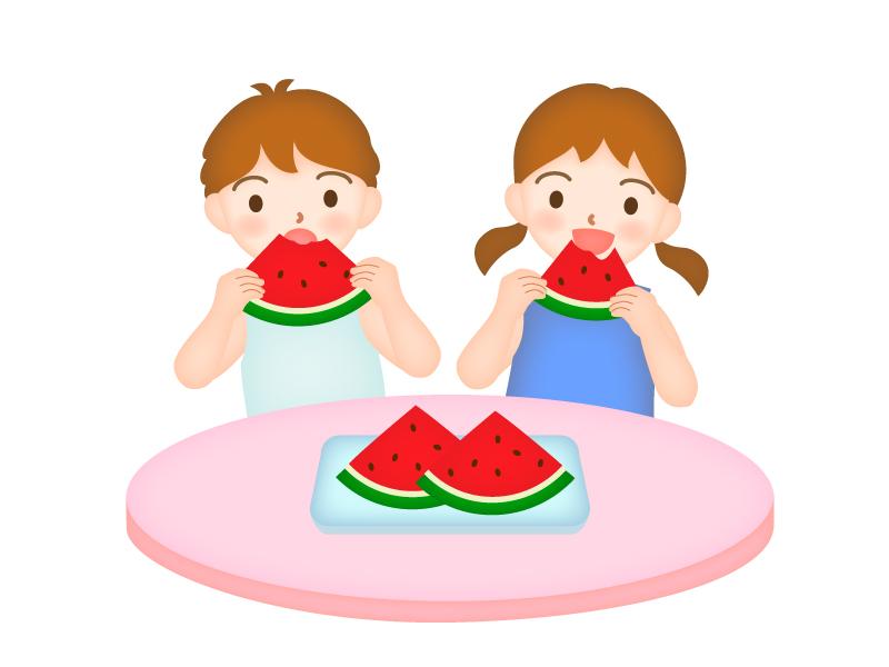 スイカを食べる男の子と女の子のイラスト
