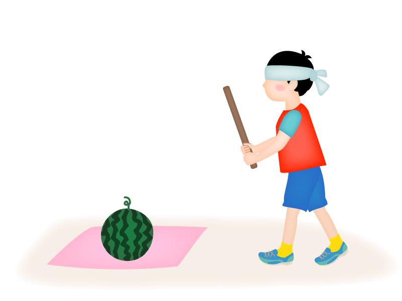 スイカ割りをする男の子のイラスト2