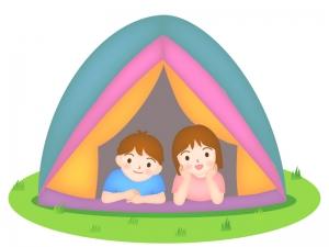 テントから顔を出す男の子と女の子のイラスト