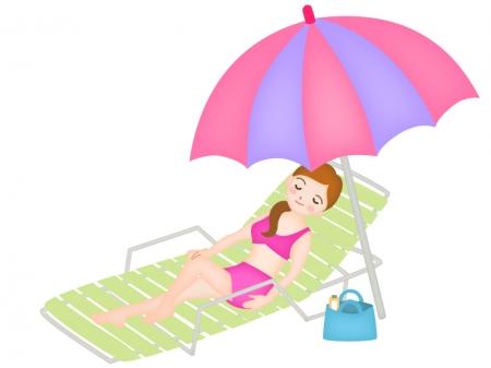 パラソルの下で寝そべる女性のイラスト