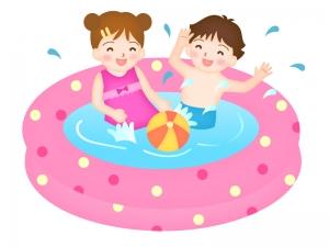 ビニールプールに入る男の子と女の子のイラスト