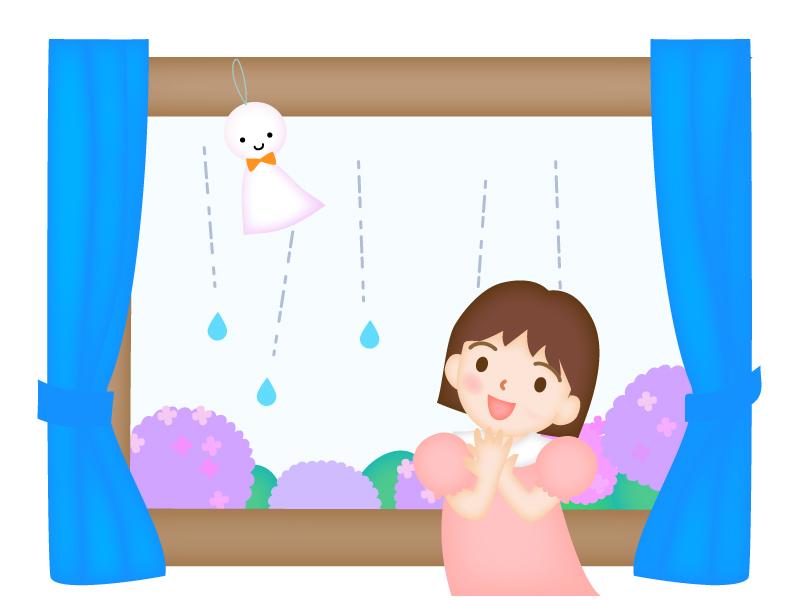 雨の日の窓辺と女の子のイラスト