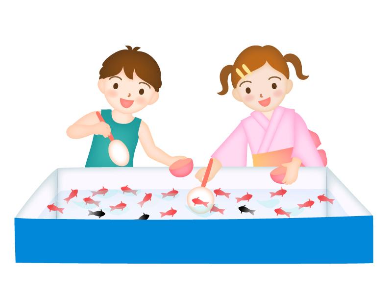 縁日の金魚すくいをする男の子と女の子のイラスト