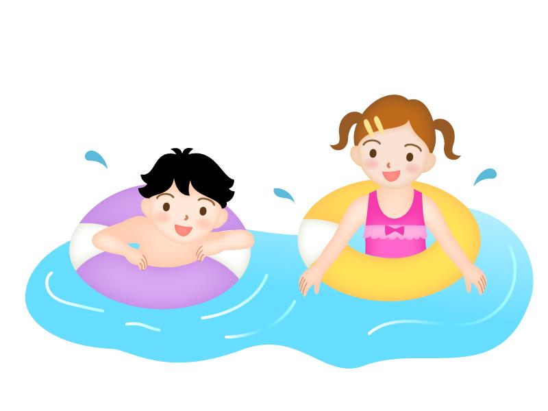 海水浴をする男の子と女の子のイラスト