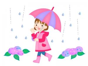 雨の中で傘をさす女の子のイラスト