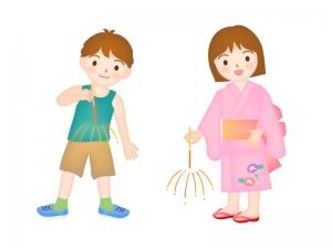 手持ち花火をする男の子と女の子のイラスト