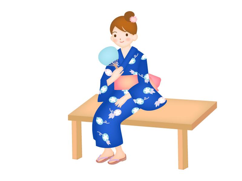 浴衣姿で涼む女性のイラスト