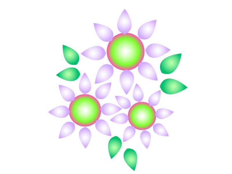 紫と緑色の小花のイラスト