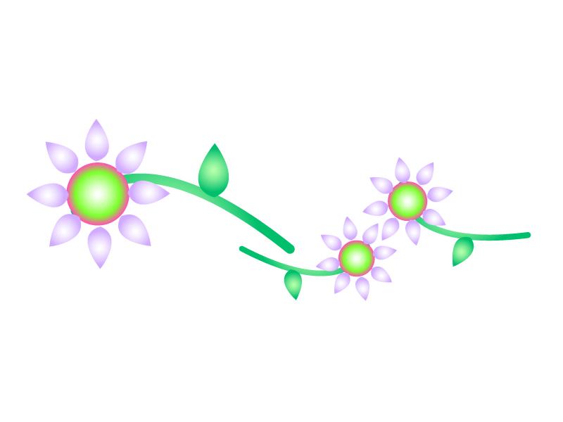 紫と緑色の小花のイラスト02