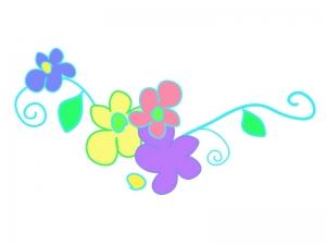 ツタと花の模様のイラスト03