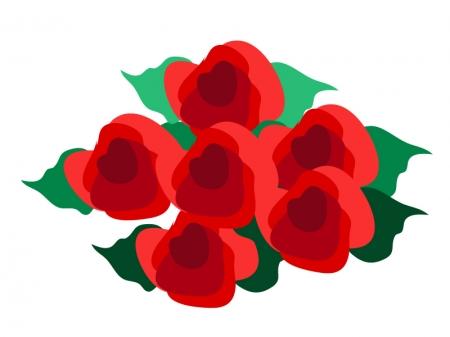 たくさんの赤いバラのイラスト