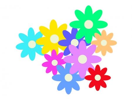 カラフルな小花のイラスト02