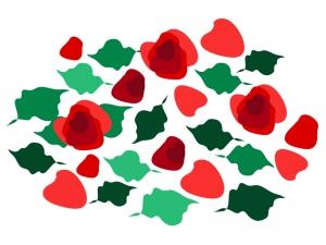 たくさんの赤いバラのイラスト02