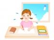 夏休みの宿題をする女の子のイラスト