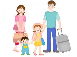帰省や旅行に行く家族のイラスト