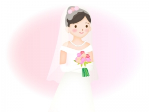 花嫁さんのアップのイラスト