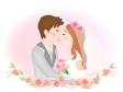 キスをする新郎新婦のイラスト
