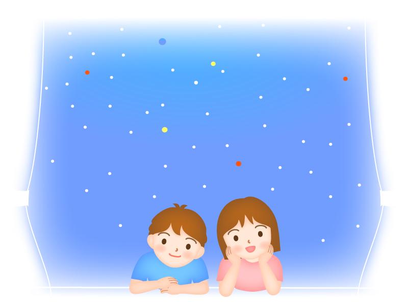 窓から星空を見上げる男の子と女の子のイラスト