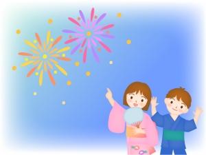 打ち上げ花火を見る男の子と女の子のイラスト