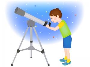 望遠鏡を覗き天体観測をする男の子のイラスト