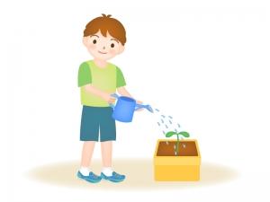 野菜や植物の双葉の水やりをする男の子のイラスト