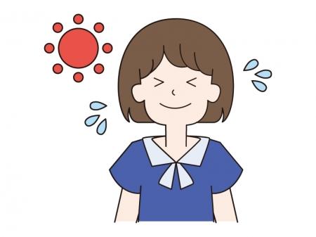 暑さで汗をかく女の子のイラスト