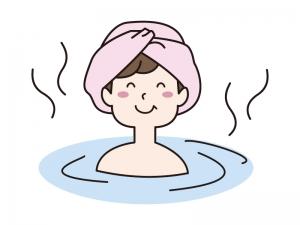 温泉・お風呂に入る女性のイラスト