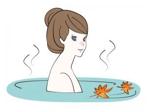 紅葉が浮かぶ温泉につかる女性のイラスト