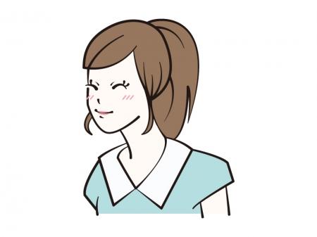 照れ笑いをする女性のイラスト