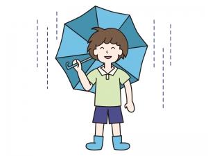 雨の中で青い傘を差す男の子のイラスト