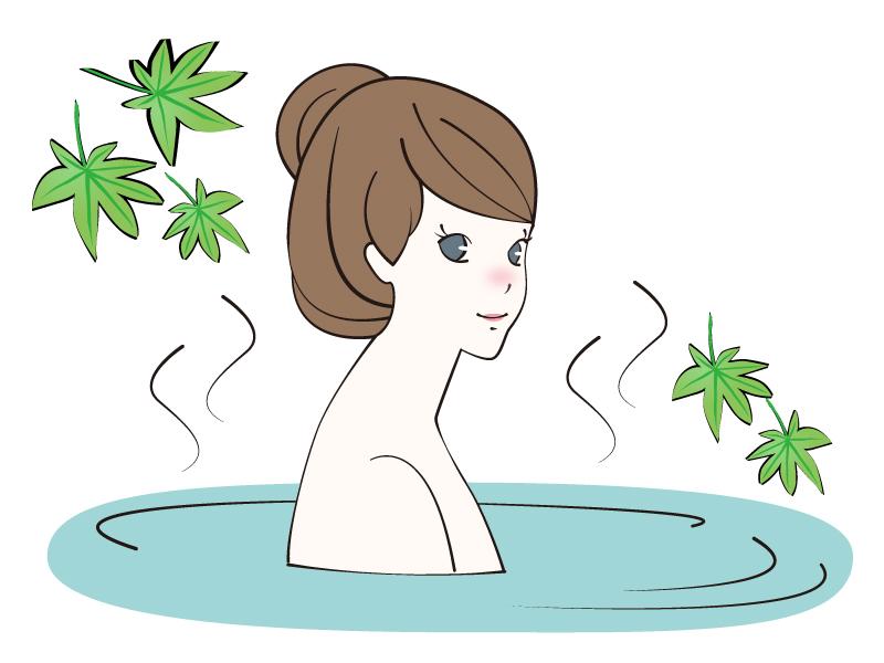 緑のもみじと温泉につかる女性のイラスト