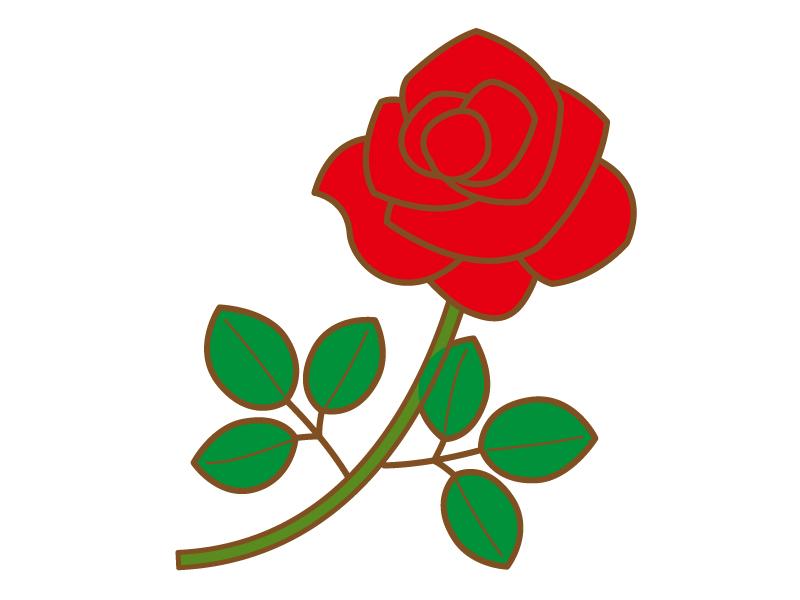一輪の赤いバラのイラスト