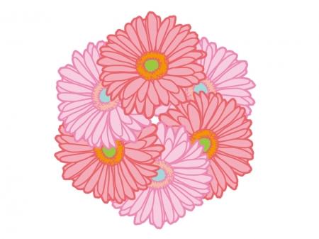 たくさんのガーベラの花のイラスト