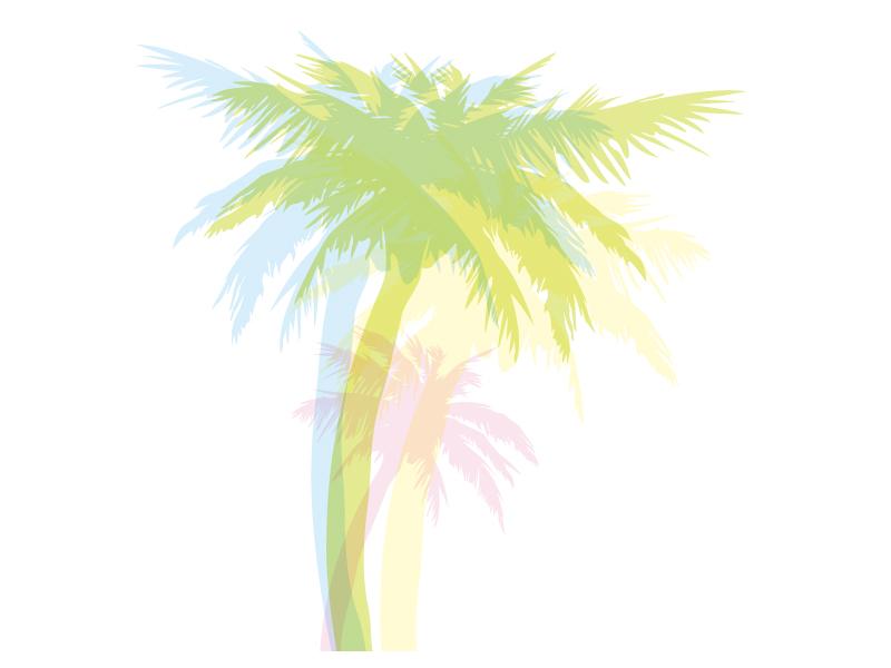 椰子の木の色付きシルエットのイラスト