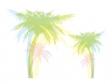椰子の木の色付きシルエットのイラスト02
