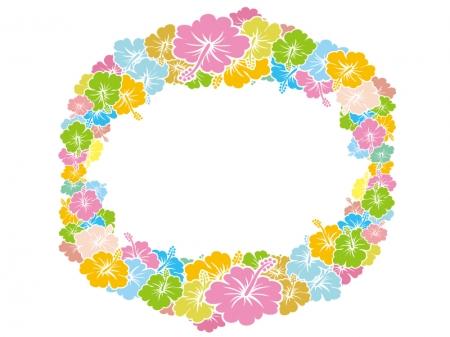 ハイビスカスの花輪のイラスト