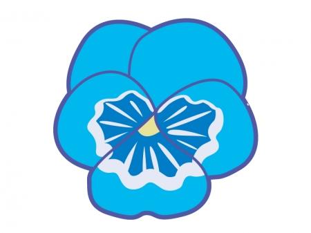 青色のパンジーの花のイラスト