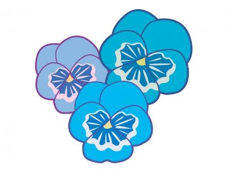 三輪の青いパンジーの花のイラスト