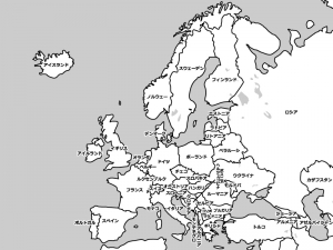 ヨーロッパ(欧州)の白地図イラスト素材
