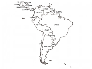 南アメリカ(南米)の白地図イラスト素材