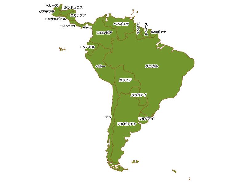 南アメリカ(南米)の地図イラスト素材