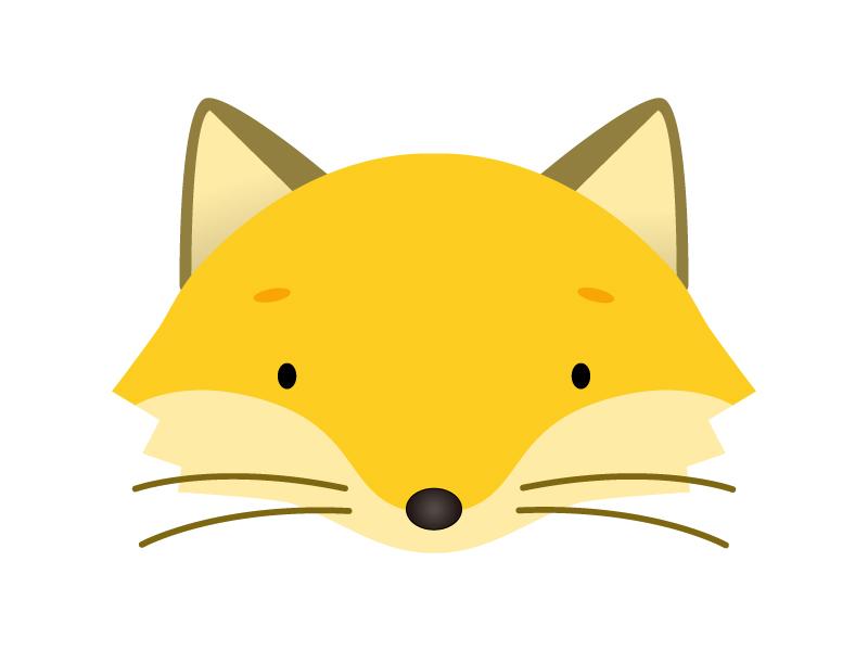 かわいいキツネの顔のイラスト素材